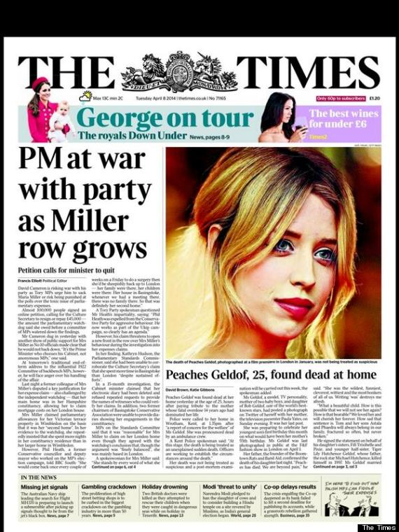 peaches geldof death the times