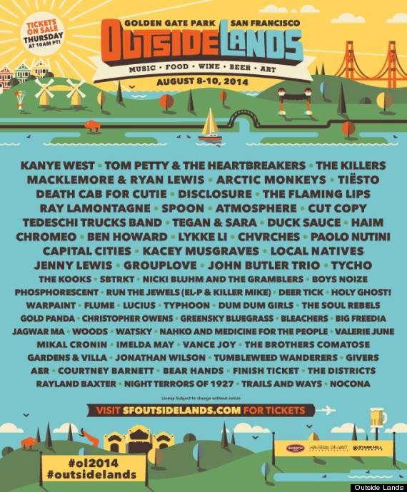 Outside Lands 2020 Schedule Outside Lands 2014 Lineup Includes Kanye West, Tom Petty