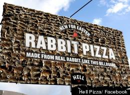 Happy Easter! Rabbit Pizza Promoted On Billboard Nailed With Hundreds Of Animal Pelts (PICTURE)