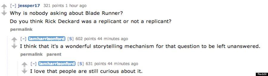 The Best Of Harrison Ford's Reddit AMA, Including A Non