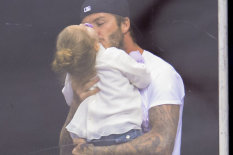 David Beckham with daughter | Pic: AP