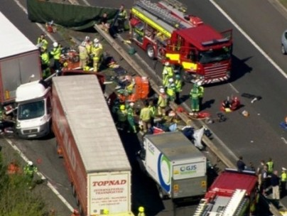 Scene of pile-up on M26