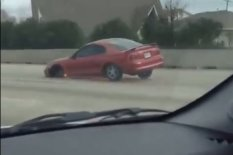 Car driving on three wheels | Pic: YouTube