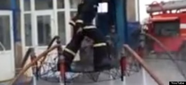 WATCH: Firefighter Uses Hoses To Go On A Magic Carpet Ride