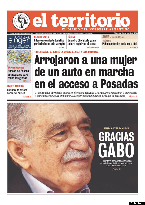 gabriel garcia marquez front page