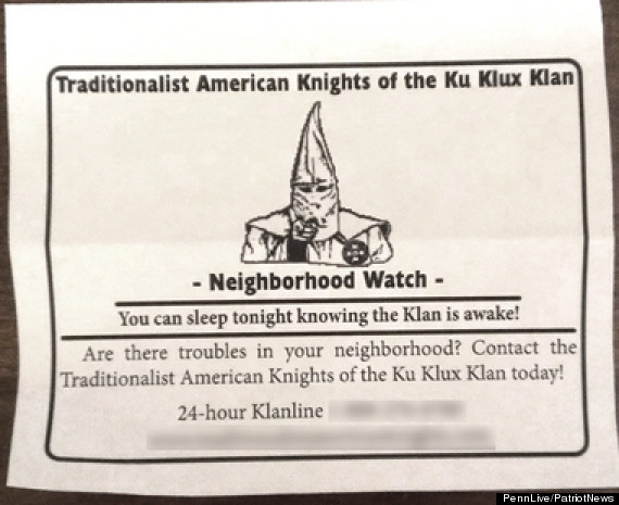 kkk forms neighborhood watch group in pennsylvania huffpost kkk neighborhood watch