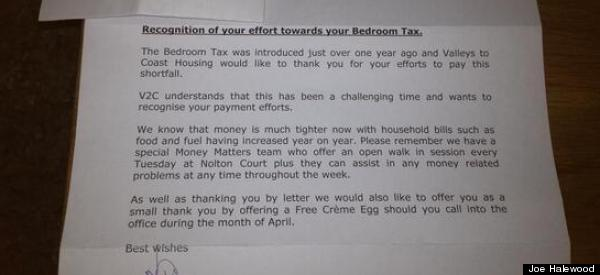 'Here's A Free Creme Egg For Enduring Bedroom Tax'