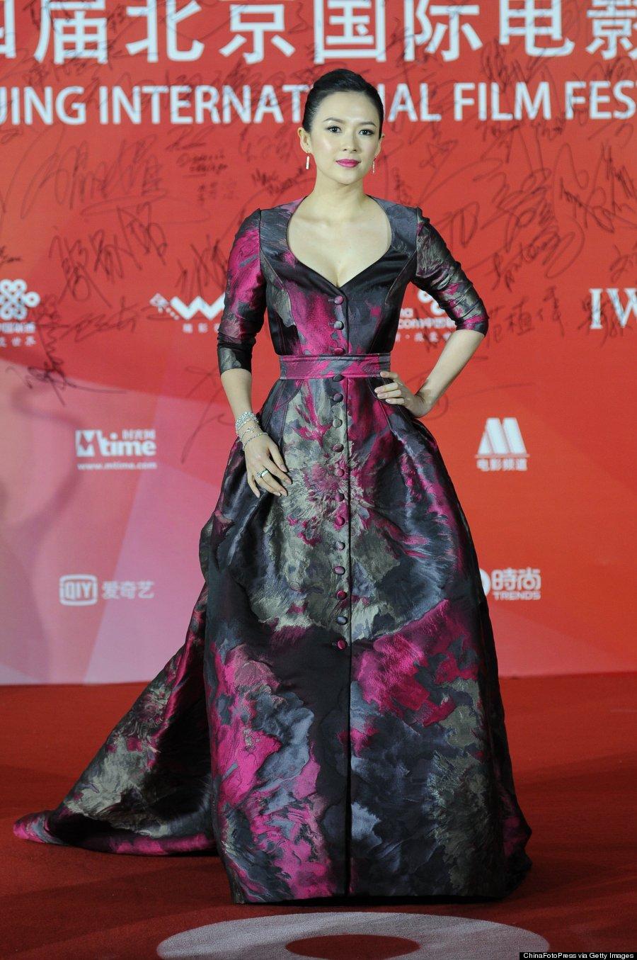 Zhang Ziyi S Carolina Herrera Dress Looks Like A Paint