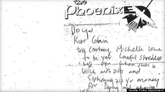 kurt cobain note about courtney love