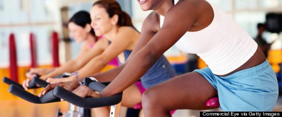 woman bike gym