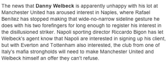 napoli the guardian welbeck