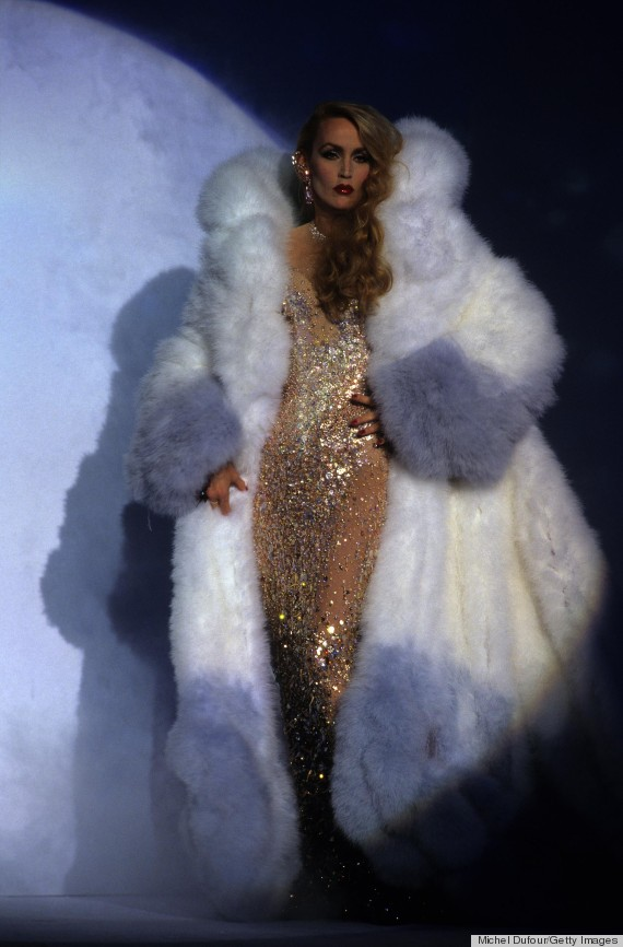 jerry hall thierry mugler runway show