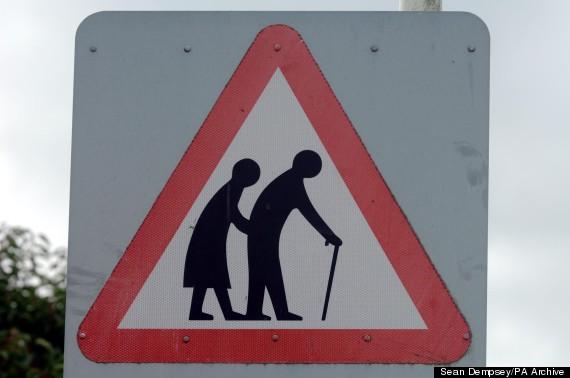 elderly crossing road