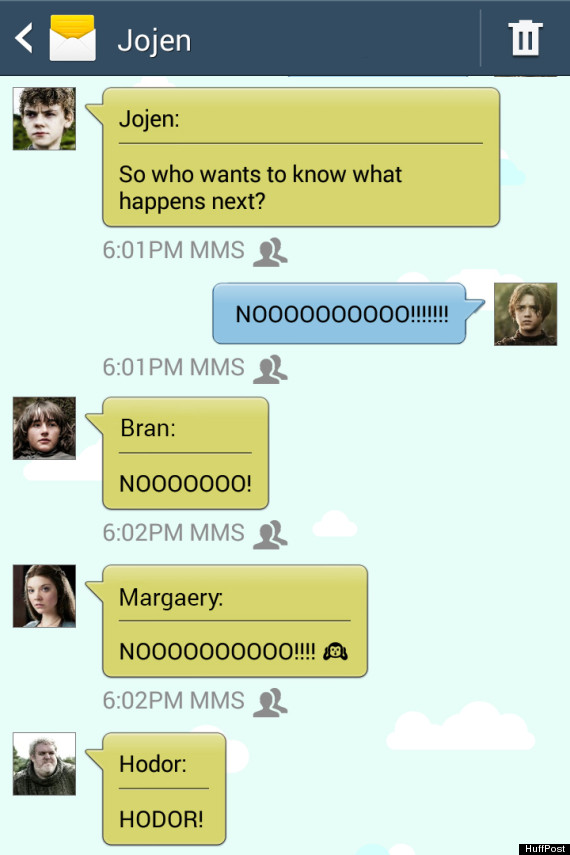 Game Of Thrones' Characters Texting About The Latest Episode Is ...