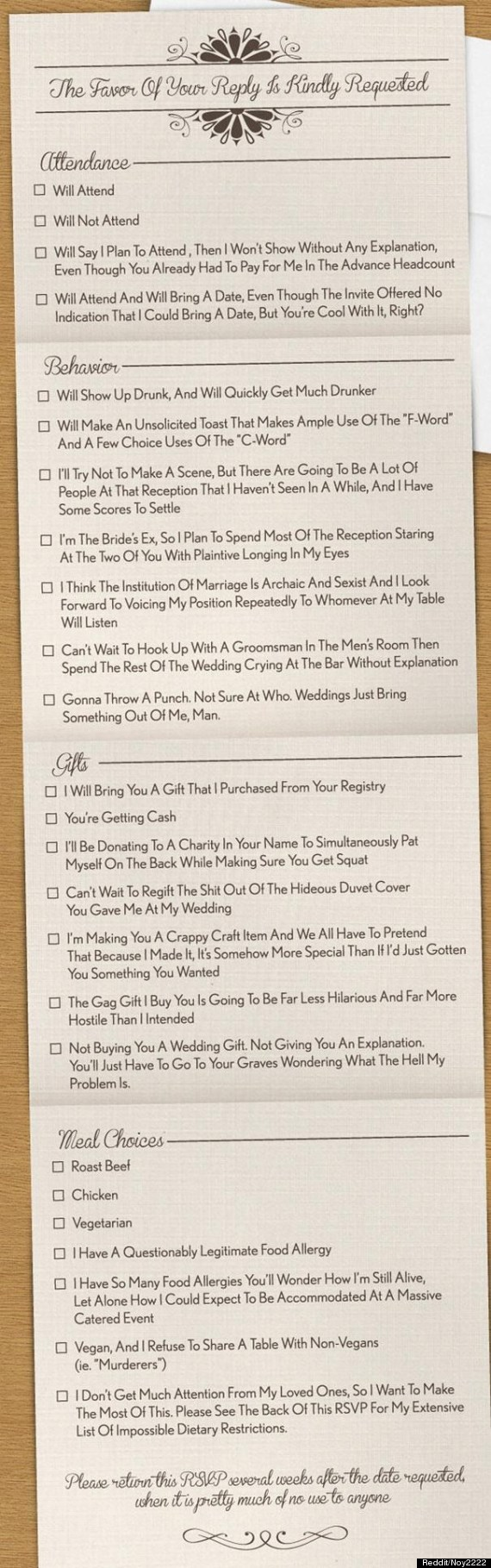honest wedding invite