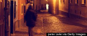 FRIGHTENED WOMAN DARK STREET