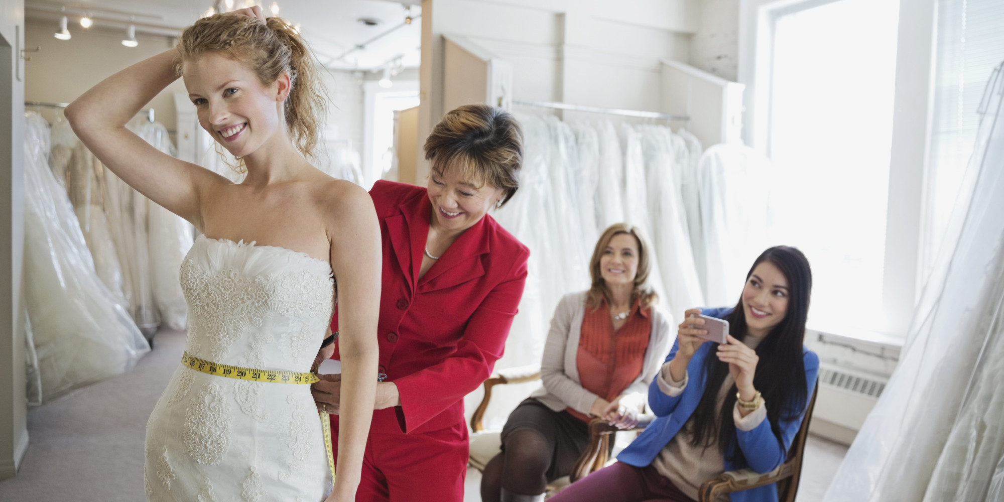 When it comes to wedding dress shopping the guest list is up to you