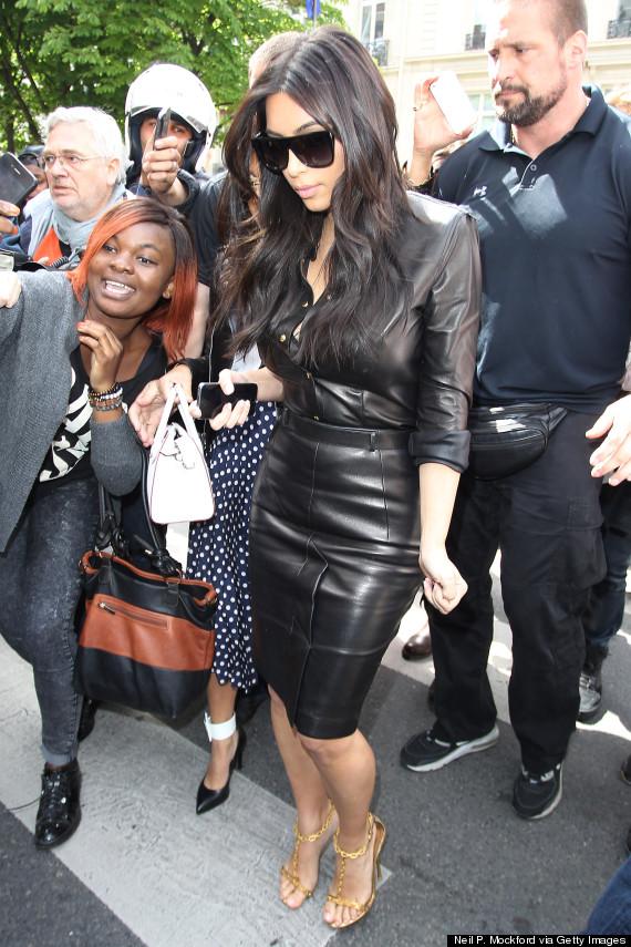 Kim Kardashian Wears A Leather Dress While Sightseeing In Paris