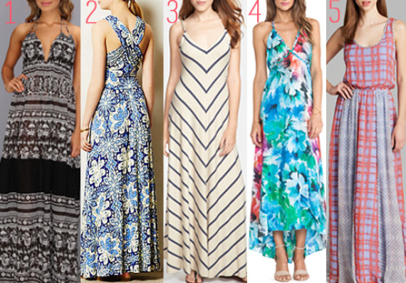 numbered maxi dresses