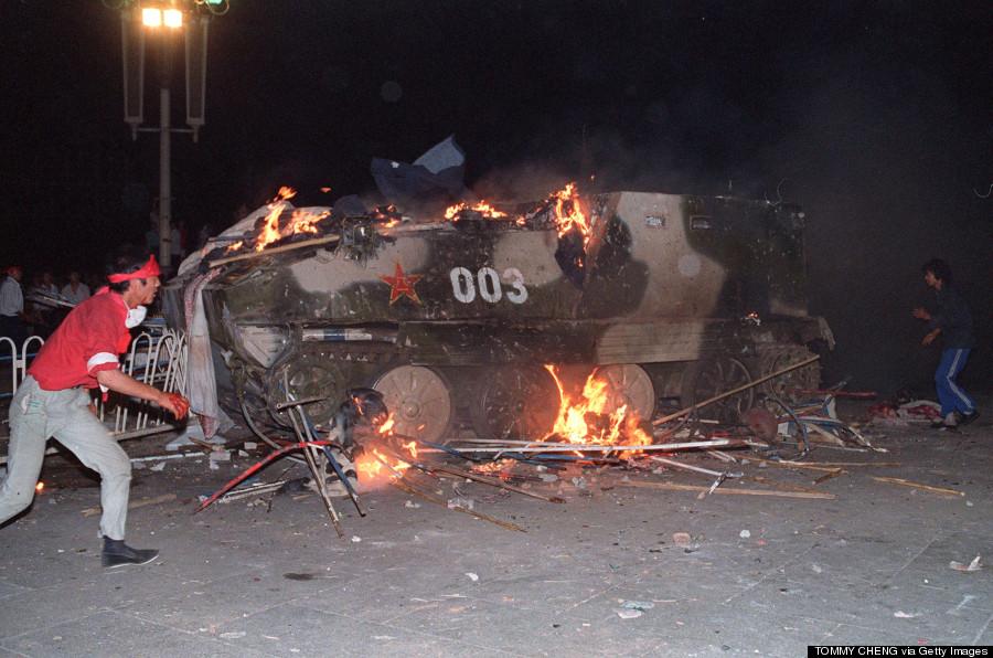 tiananmen tank burn