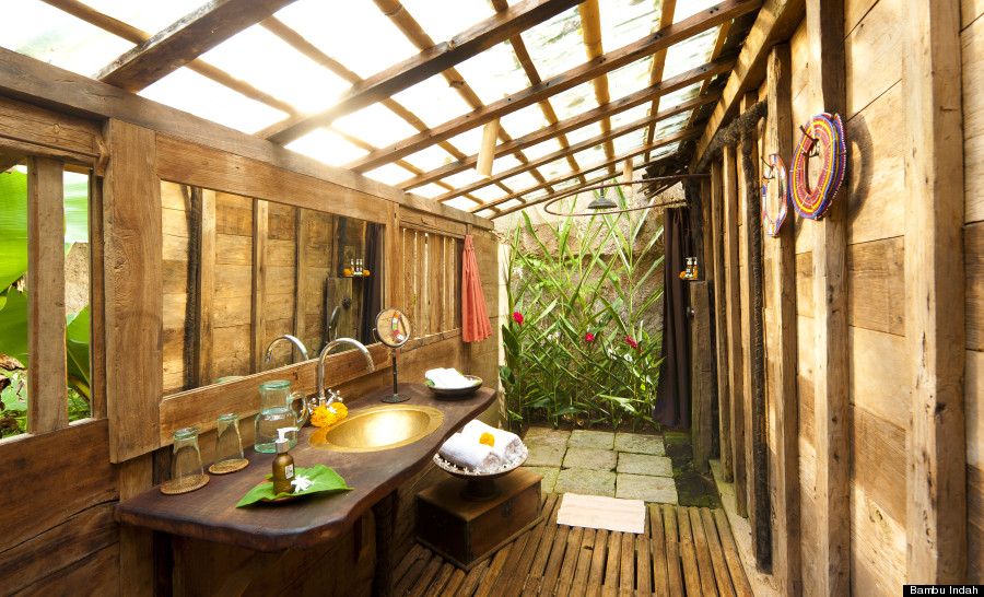 This balinese hotel took water bed to a whole new level for Open air bathroom designs