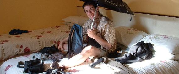 opening an umbrella indoors