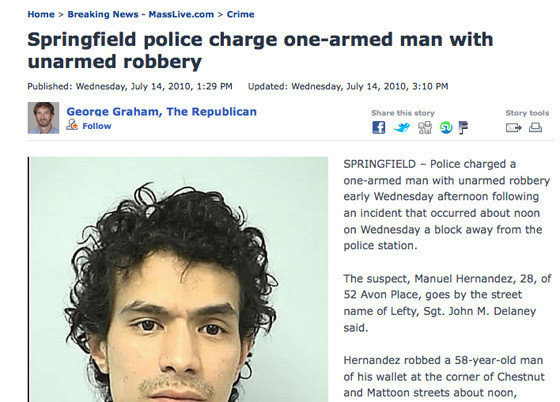 One-Armed Man's Arrest Leads To Amazingly Ironic Headline