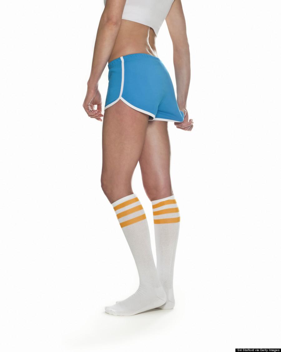 tugging on shorts