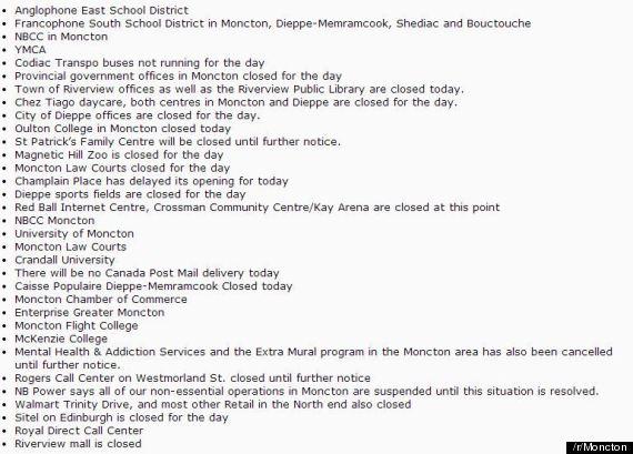 moncton closures