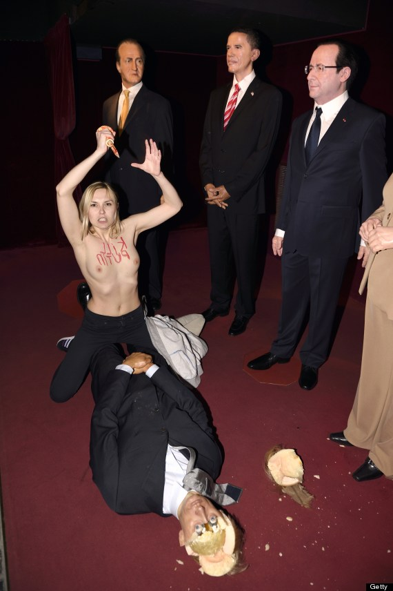 femen attack on putin waxwork