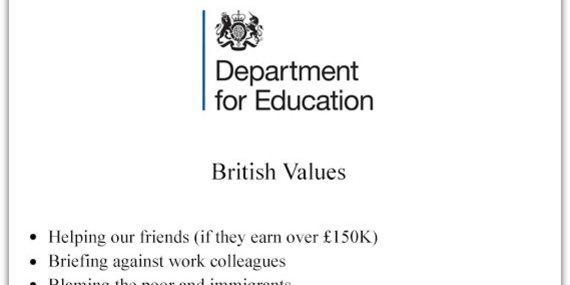 michael gove s british values revealed in government memo michael gove s british values revealed in government memo picture the huffington post