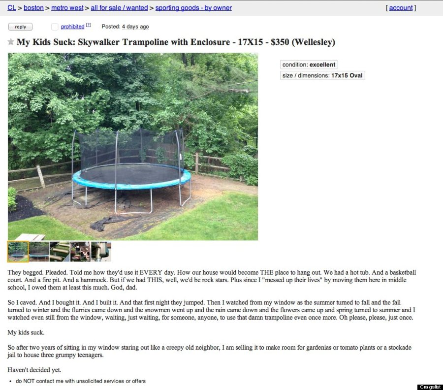 'My Kids Suck': Angry Dad Puts Trampoline Up For Sale In