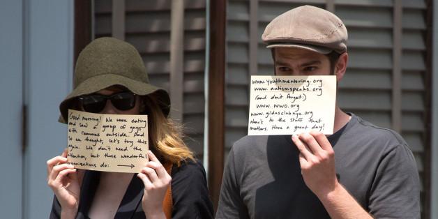 Andrew Garfield and Emma Stone Use Paparazzi to Promote Charities Andrew Garfield and Emma Stone Use Paparazzi to Promote Charities new pics