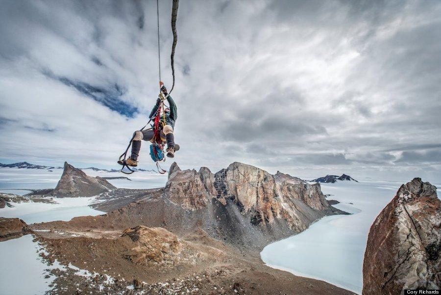 hiker in air