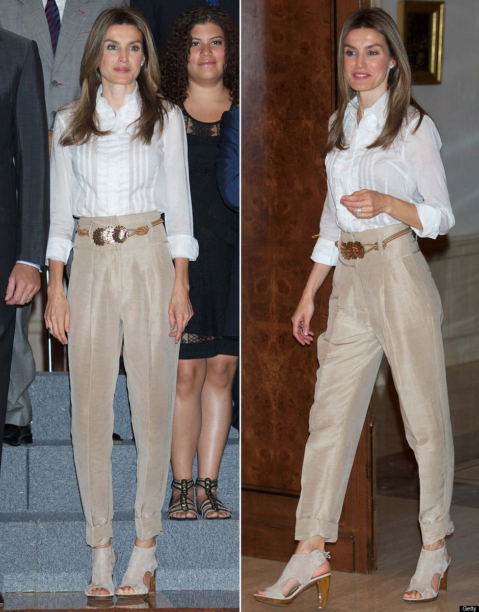 Princess Letizia's Pants: High-Waisted, Belted & Cuffed ...
