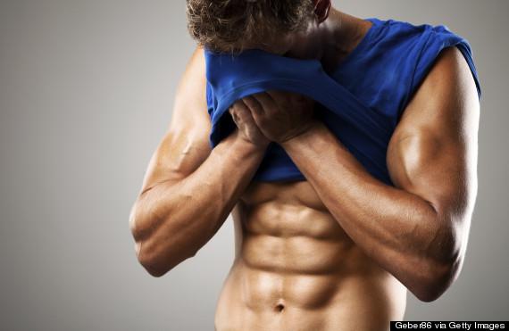 man topless abs