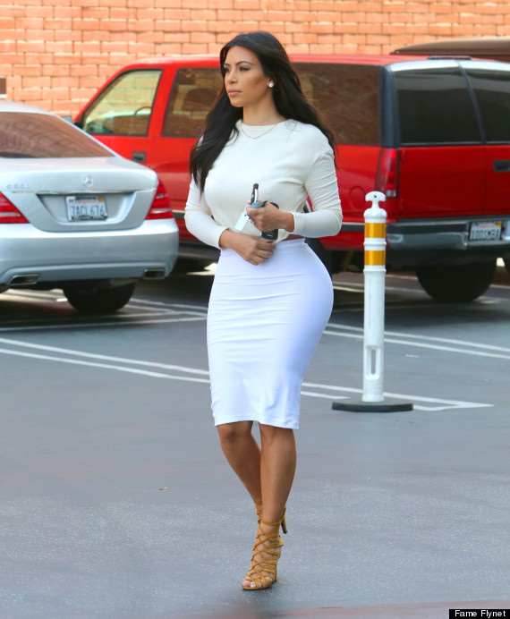 Kim Kardashian Wears Backless Top And White Skirt For Lunch Outing ...