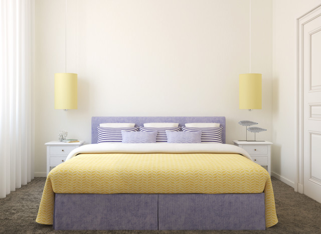 purple and yellow bedroom