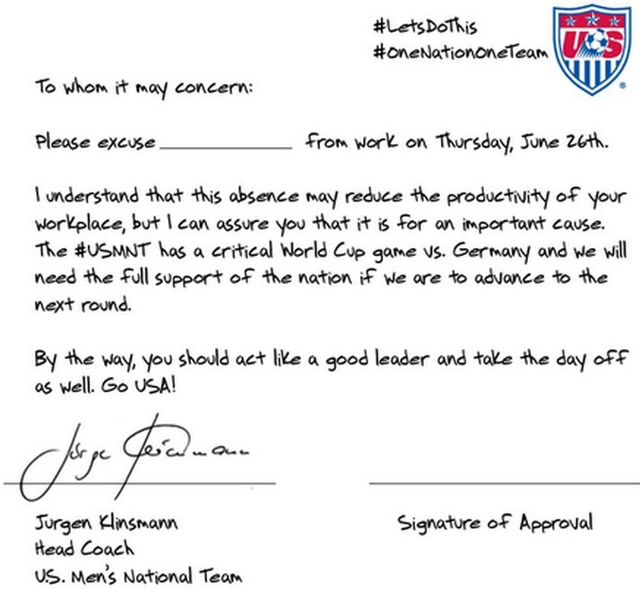If this note doesnt convince your boss to let you watch the us us letter thecheapjerseys Choice Image