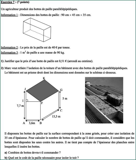 brevet mathematiques exercice 7
