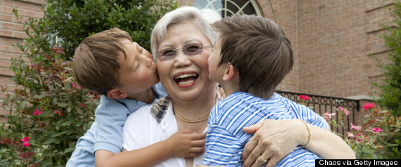 grandma kissing