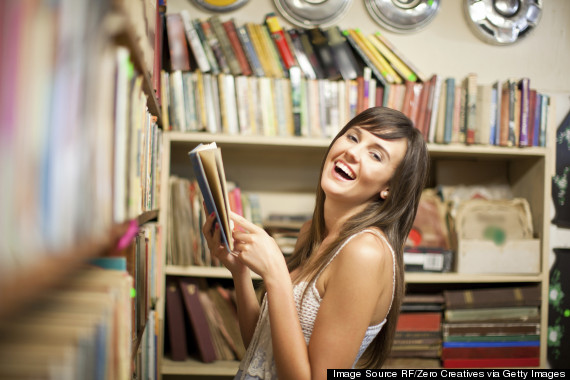 woman book shelves