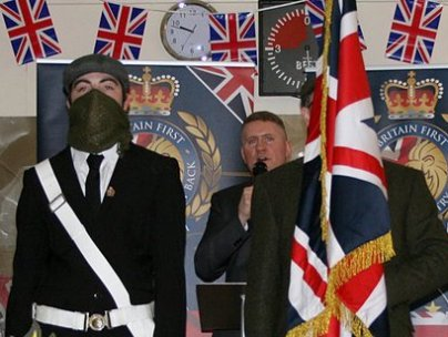 Britain First members at a rally
