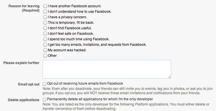 how to quit facebook