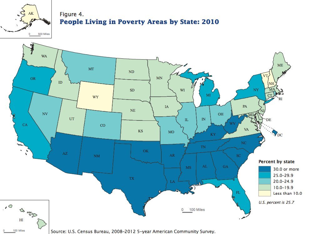 The South Is Essentially A Solid Grim Block Of Poverty HuffPost - Us map of deep poverty