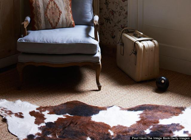 cowhide over rug