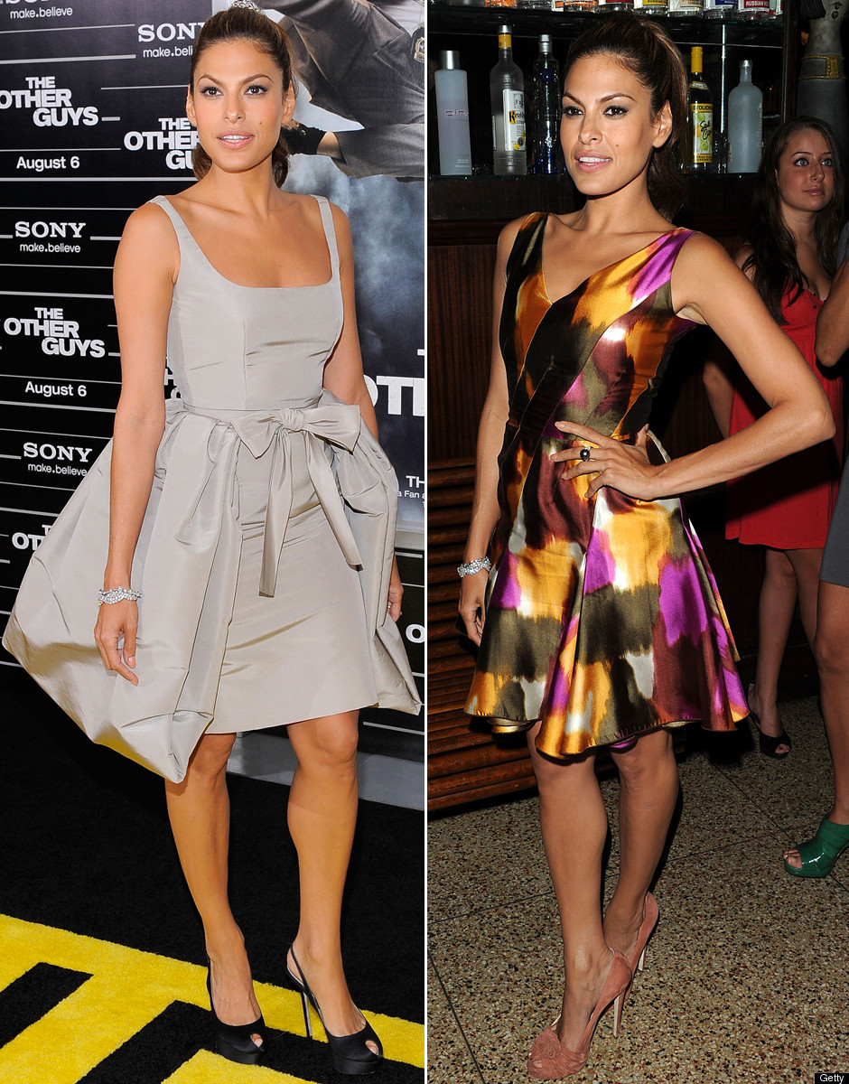 Actress Eva Mendes wore two different ensembles on Monday night.