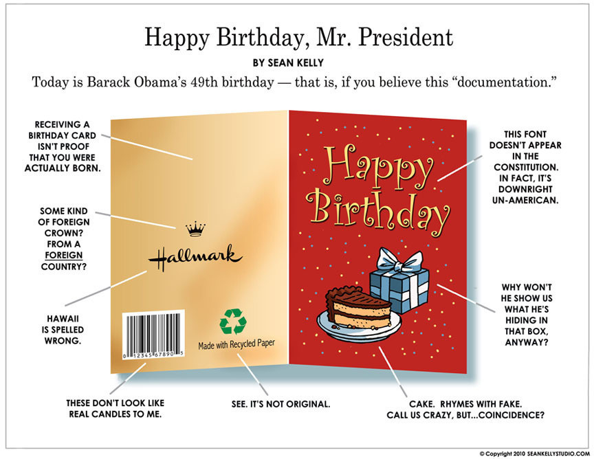 A Birthers Birthday Card For Obama PICTURE – Birthday Card from the President