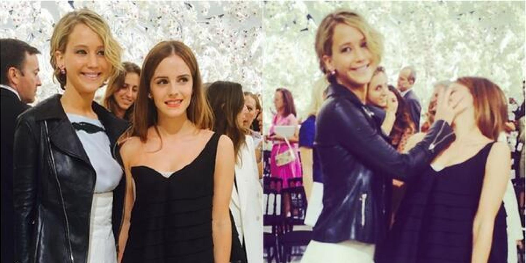Jennifer lawrence and emma watson meet at paris fashion week make the