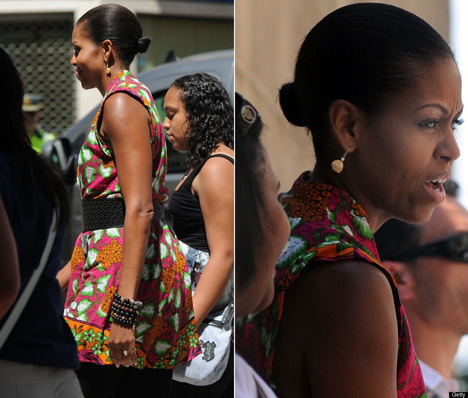 Michelle Obama Wears Printed Dress In Granada (PHOTOS, POLL)